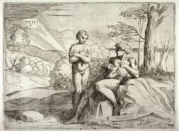 the creation of adam and eve from the series of etchings biblical