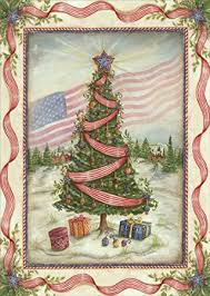 patriotic christmas cards american flag and tree box of 16 patriotic