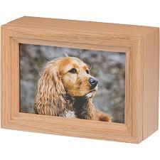 dog cremation photo frame pet cremation urn in oak wood b014 oak 45 cu in