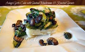 recipe box asiago cheese grits cake topped with sauteed mushrooms