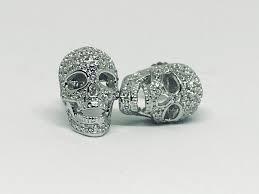 skull stud earrings 9ct pave russian lab diamond skull stud earrings of