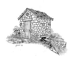 stone spring house built around the spring pen and ink drawings