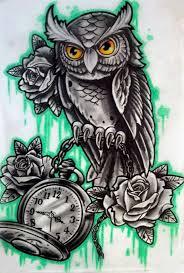 owl clock drawing owl with clock n corujas tatoo