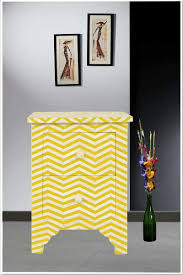 yellow chevron pattern bone inlay two drawer bedside tables luxury