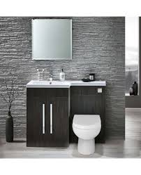 Stone Basin Vanity Unit Elto Stone Grey 1100mm Left Basin Vanity Unit With Toilet