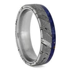 meteorite wedding band seymchan meteorite rings with blue box elder burl titanium wedding