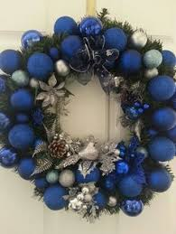 Small Blue Christmas Decorations by Silver And Blue Christmas Decor Christmas Door Decor Blue