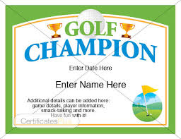 fun certificate templates golf certificate golf award template golf trophy