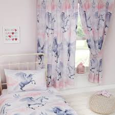 Duvet Curtain Sets Stardust Unicorn Duvet Cover Sets U0026 Matching Curtains Single