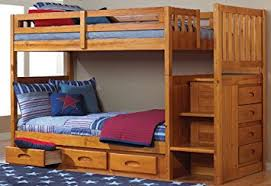 Come Into My Bedroom Honey Amazon Com Mission Twin Over Twin Staircase Bunk Bed With 3