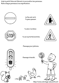 Coloriage educatif  Vocabulaireles panneaux