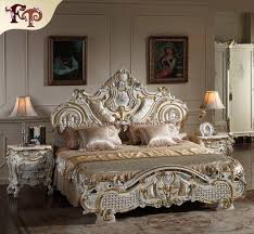 Rococo Bed Frame Rococo Classic European Furniture Solid Wood Baroque Leaf