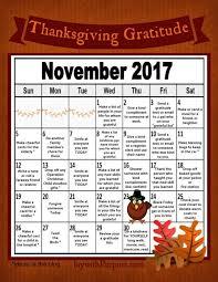 thanksgiving gratitude calendar free printable with purpose