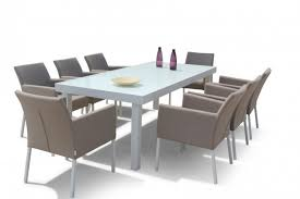 Maze Kitchen Table - rattan savage glass topped dining set 8 seater