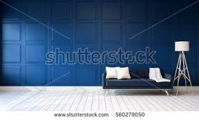 loft vintage interior living room blue stock illustration