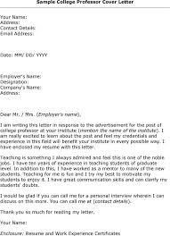 cover letter for college professor 5 sample teaching job docoments