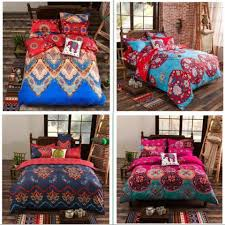 boho bohemian style butterfly bedding sets girls bright red blue