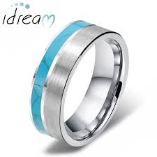 unique matching wedding bands his and hers turquoise inlaid tungsten wedding band unique tungsten carbide
