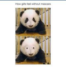 Panda Mascara Meme - how girls feel without mascara funny meme on me me