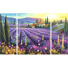 triptych paint by numbers lavender fields schipper from
