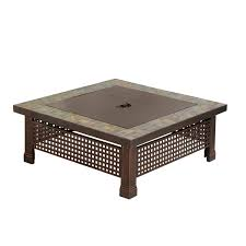 Rectangle Fire Pit Table Amazon Com Pleasant Hearth Bradford Square Natural Slate 34 Inch