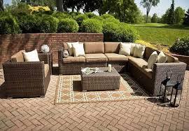 Wicker Table L Furniture Astounding L Shaped Woodard Patio Wicker Furniture Sets