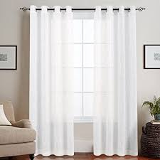 How To Pick Curtains For Living Room Amazon Com Topick Linen Like Sheer Curtains For Living Room Open