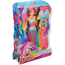 barbie rainbow lights mermaid doll walmart com