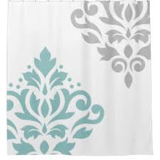Turquoise And Grey Curtains Damask Shower Curtains Zazzle