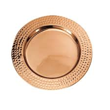 13 in decor copper hammered charger plates set of