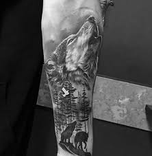 shaded howling wolf inner forearm designs tattoos