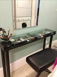 Narrow Vanity Table Narrow Makeup Vanity Table With Storage Glass Top And Wooden