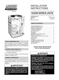 lennox 12acb iom thermostat air conditioning