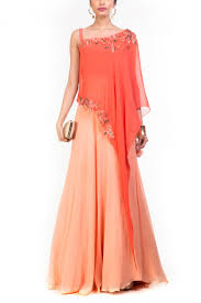 georgette party wear crop top lehenga in peach and orange colour