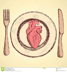 sketch human heart on the plate in vintage style stock vector