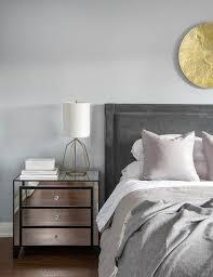 pink velvet tufted mirrored headboard contemporary bedroom