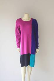 80s sweater dress 80 s color block sleeve box fit sweater dress