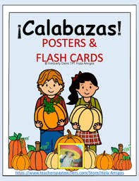 calabazas numbers spanish posters color u0026 cut flash cards