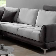 canapé portland canapé angle gris en tissu sofamobili