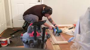 Cutting Laminate Flooring With Circular Saw Making A Straight Cut Across Hardwood Flooring Boards With A Zero