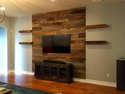 trevor u0027s reclaimed barn wood accent wall with shelving latest