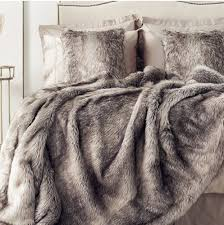 kelly hoppen frosted fox faux fur throw 200 x 150cm taupe