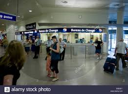 bureau de change manchester inside manchester airport terminal 3 entrance arrivals stock photo