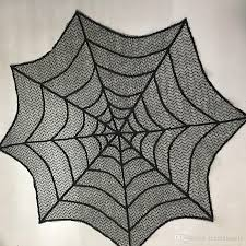 halloween decoration black lace tablecloth spider web round 30inch