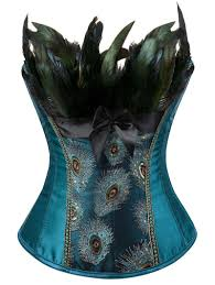American Flag Corset Peacock Blue M Feather Sequined Embroidered Lace Up Corset