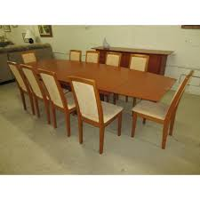 10 seat dining room set set skovby dining table w olive wood inlays 10 chairs 2 leaves