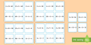 number fact families matching multiplication and division fact families