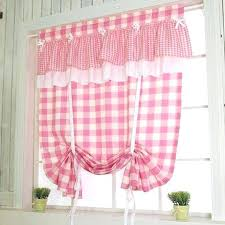 Balloon Curtains For Kitchen by Tie Up Valance Kitchen Curtains Pink Check Tie Up Balloon Curtain