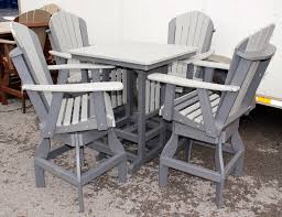 Patio High Table And Chairs by Poly 33 U2033 Square Bar Height Table And Adirondack Swivel Bar Stool