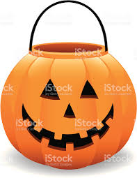 cheerful halloween pumpkin jack o lantern bucket vector